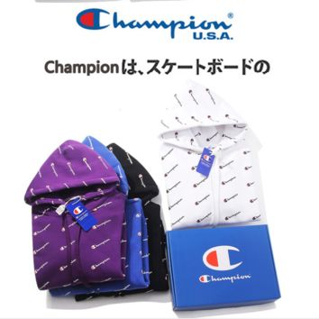 Champion new popular logo monogrammed cotton couples long sleeve cap hooded hoodies
