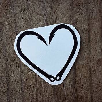 Fish Hook Decal, Sticker, Heart, Outdoors, Country, Window, Car, Laptop, Cell Phone, Mirror, Computer, Made to Order