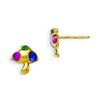 14k Madi K Multicolor CZ Children's Mushroom Earrings GK832