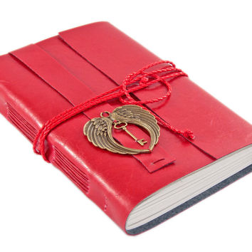 Large Red Faux Leather Journal with Angel Wings // Key // Blank Pages // Prayer Journal // Diray // Travel Journal // Ready to Ship