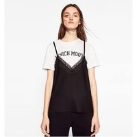 zara lace top with inner t-shirt - Google Search