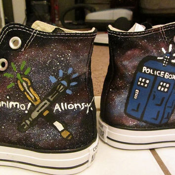 Custom Doctor Who shoes, Tardis, eleven and tens sonics
