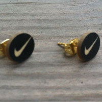 Swoosh Check Circle Earring Studs Nike Style / Black and White or Black and Gold