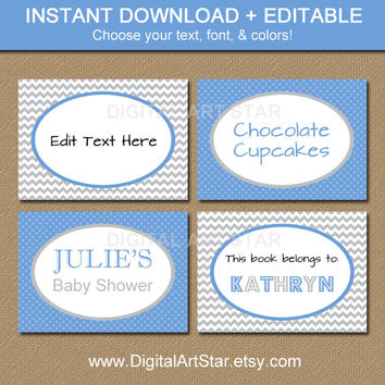 Editable Printable Chevron Candy Buffet Labels, Tent Cards, Buffet Cards - You Personalize in Adobe Reader - Blue Gray - INSTANT DOWNLOAD
