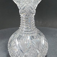American Brilliant Period flower vase  Cut Glass blown  ABP  Antique T