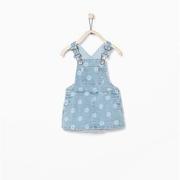 SHUZHI Toddler girl dresses Fashion Baby girl dress flowers Denim Sunderss infant Cowboy Jeans dresses for kids Dress 6-24M
