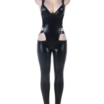 RK80270 Hollow Out Full Length latex Catsuit Women New Arrival Black Faux Leather Jumpsuit Stripper Bodycon Jumpsuits For Women