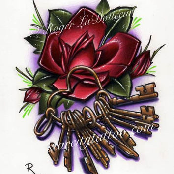 "Original art print, Rose with Keys on Heart Shaped Ring, size 8""x10"""