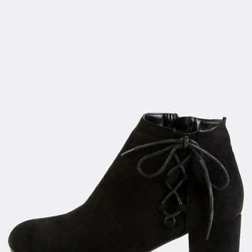 Suede Side Lace Up Booties BLACK | MakeMeChic.COM