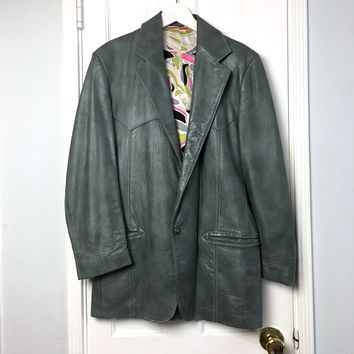 Bandit Vintage 90s women's Gray Leather Blazer jacket sz L