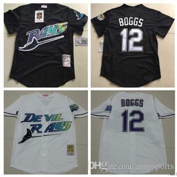 2017 New Mens Tampa Bay Rays #12 Wade Boggs VINTAGE Baseball Jerseys Pullover Mesh BP Throwback Cooperstown Black Jersey Mix Order
