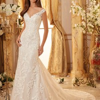 Blu by Mori Lee 5471 Off the Shoulder Lace Fit & Flare Wedding Dress