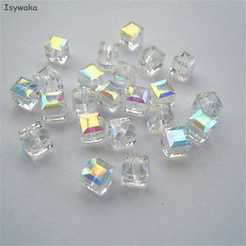 Free shipping 100pcs White AB Color Square 6mm Austria Crystal Beads charm Glass Beads Loose Spacer Bead for DIY Jewelry Making