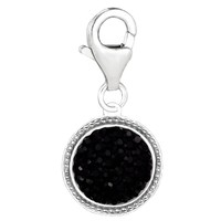 Sterling Silver Black Crystal Clip On Charm