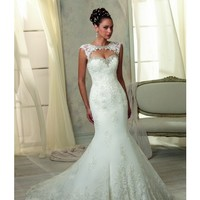 Angelina Faccenda Wedding Dress Fit and Flare Strapless Scalloped Edging Satin