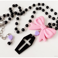 Pastel Goth Coffin Necklace, Black Purple and Pink, Beaded Rosary Chain - Kawaii Jewelry, Street Fashion
