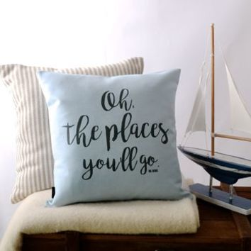 'Oh, The Places You'll Go!' Dr Seuss Cushion Cover