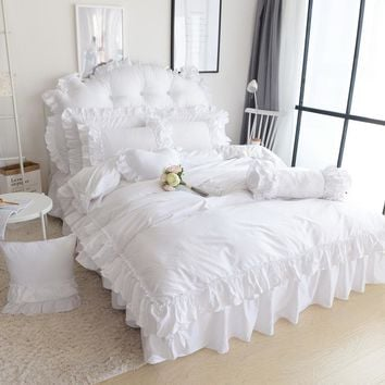 Snow White Princess Bedding Set King Queen Size Luxury 4pcs Ruffles Quilt Cover Set Bedspread Bed Skirt Pillowcases 100% Cotton