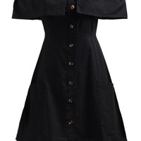 Black Off Shoulder Ruffle Detail Button Up Dress