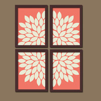 Bold Coral Ivory Flourish Design Artwork Set of 4 Prints Dahlia Bloom Flowers Bedroom WALL Decor Floral ART Pictures