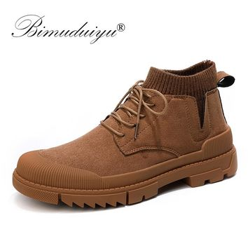 BIMUDUIYU Boots Men High-Top Sneakers Winter New Design Rubber Sole Non-slip Breathable Shoes Retro Sock Man Sneaker Casual Shoe