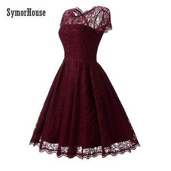 SymorHouse Hot Sale Womens Summer Lace Dress 2018 Vintage O Neck Slim Sexy Pin up Rockabilly Vestidos Party Black Lace Dresses