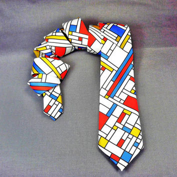 Mondrian skinny necktie, modern art tie, abstract art tie, painting tie, Artist tie, mondrian blocks, Mondrian tie, art narrow neckite