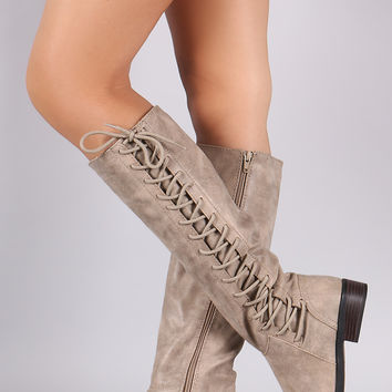 Bamboo Nubuck Corset Lace Up Riding Knee High Boots