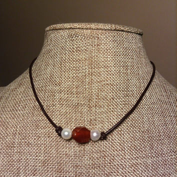 Freshwater Pearl Leather Necklace Genuine Pearls and Carnelian Stone Faceted Bead Necklace Choker