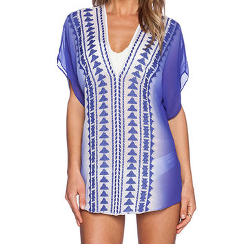 MILLY Ombre Anguilla Embroidered Tunic in Blue
