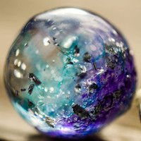 Galaxy pendant big ball resin pendant blue purple necklace silver flakes resin jewelry dainty necklace gift jewelry for her