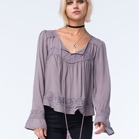 Blu Pepper Womens Bell Sleeve Lace Top Slate  In Sizes