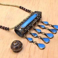 Big Afghan Kuchi Necklace,Tribal Necklace,Pill Box Bib,Prayer Box Necklace,Hippie Necklace,Gypsy Jewelry,Boho Gypsy Necklace,Ethnic Necklace