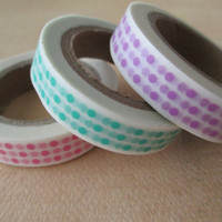 Washi Tape - 3 Rolls - Polka Dots - Purple, Mint and Pink