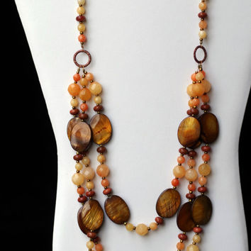 Long Multi Strand Statement Necklace Peach Bronze/ Luxurious Semiprecious Aventurine MOP Necklace/ Chunky Brown Necklace/ OOAK