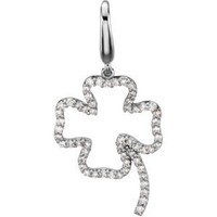 14K White Gold Diamond Four Leaf Clover Charm