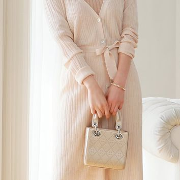 Creamy Belted Knit Long Cardigan