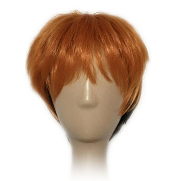Men Short Hair Orange to Purple Cosplay Wig