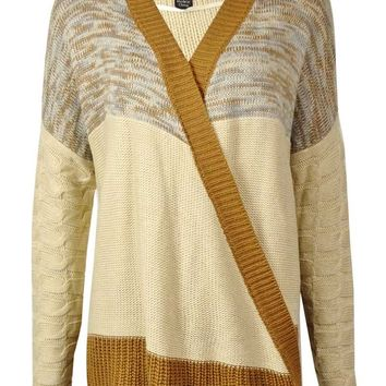 ONE A Women's Open-Front Draped Cable Knit Cardigan