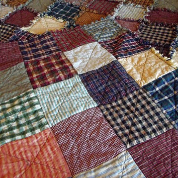 Ready To Ship - Queen Size Patchwork Rag Quilt - Rustic, Country