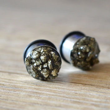 pyrite plugs pyrite earplugs gemstone plugs stones ear tunnel grey Stone plugs tunnels gemstone plugs natural plugs wedding plugs girly plug