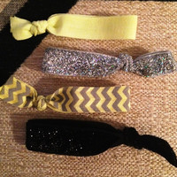 Yellow and Gray Chevron and Glitter Hair Tie Set of 4