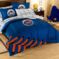 New York Mets MLB Embroidered Comforter Set (Twin-Full) (64 x 86)