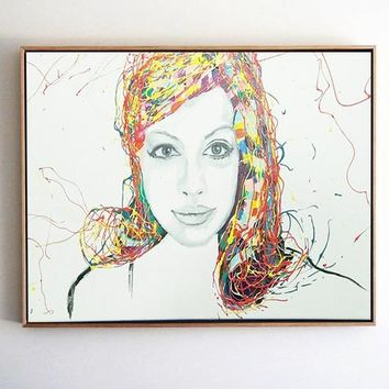Lady Face Acrylic Painting Large Colorful Art on Canvas Painting Artwork Painting On Canvas Original Living Room Wall Art Wide Painting Art