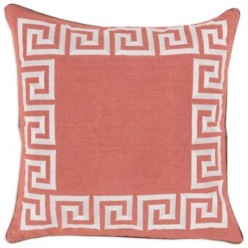Coral Greek Key Pillow