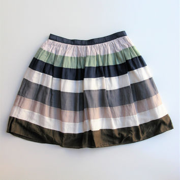 Frenchic Cotton Silk Full Striped Mini Circle Skirt S