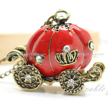 Cinderella's pumpkin carriage necklace,Pretty retro antique brass stereoscopic red glaze Pumpkin car Carriage pendant NPC02