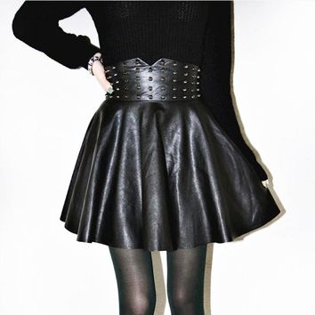 Waist Cincher Leather Studs Skirt