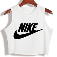 """Nike"" Fashion Sexy Letter Print Round Neck Sleeveless Vest Crop Top T-shirt"