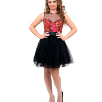 Black & Red Floral Embroidered Tulle Illusion Short Dress